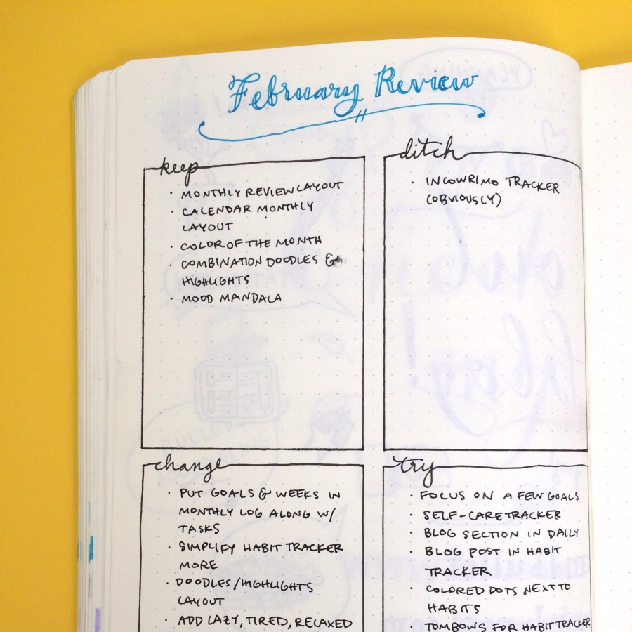 february bullet journal review